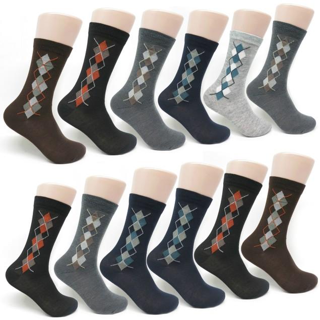 Men's 12-pack Small Argyle Printed Dress Socks
