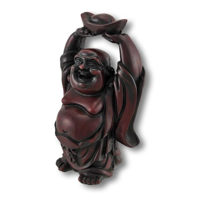 Cherry Finish Laughing Buddha Figurine Statues