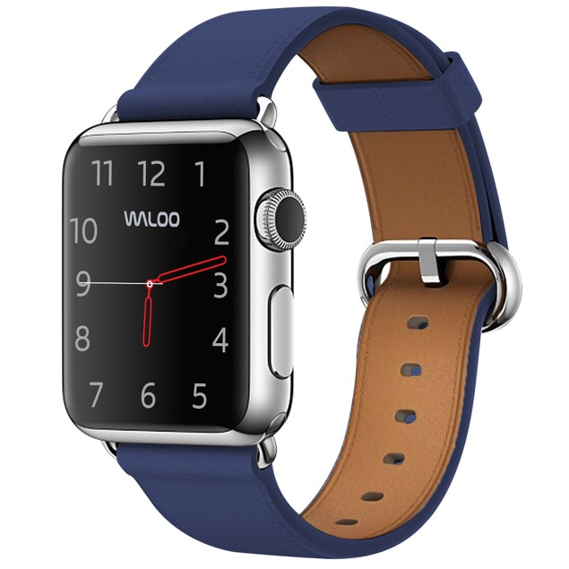 Waloo Genuine Leather and Stainless Steel Buckle Apple Watch