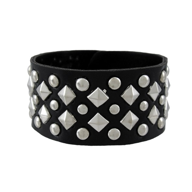 Black Vinyl Wristband With Chrome Pyramid And Mens Cuff Bracelets