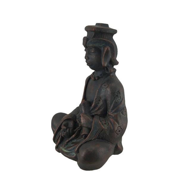 Meditating Buddhist Antique Bronze Finish Statue Statues