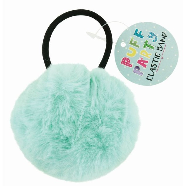 5-Pack: Assorted Faux Fur Pom Pom Elastic Hair Bands