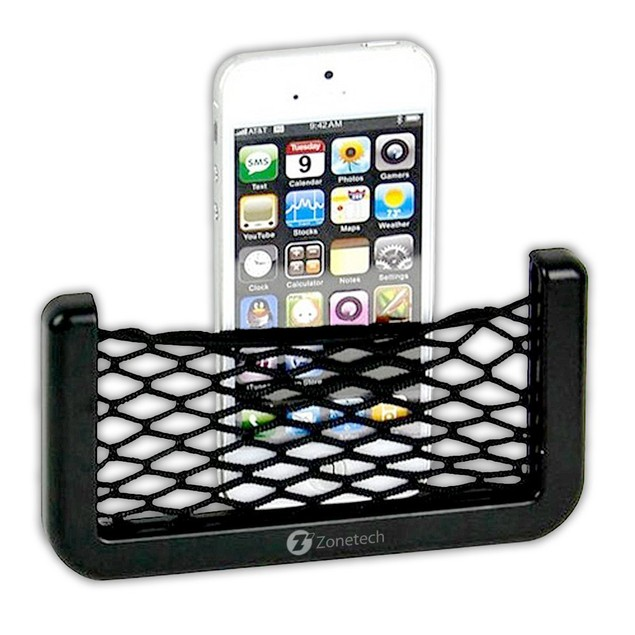 Zone Tech Stretchable Car Organizer Side Seat Net Mesh Pocket Phone Holder