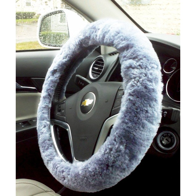 Zone Tech Gray Genuine Sheepskin Plush Vehicle Steering Wheel  Cover