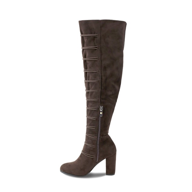 Olivia Miller 'Terryville' Multi Pom Pom Chunky Heel Over the knee Boots