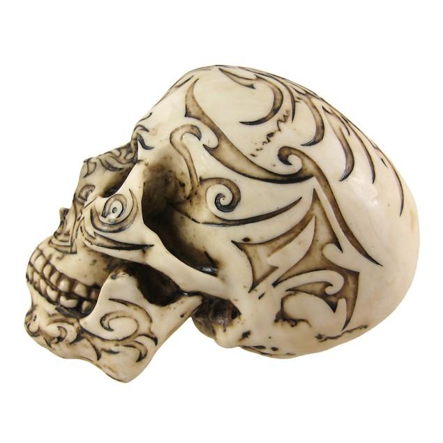 Tribal Tattoo Human Skull Statue Figure Statues