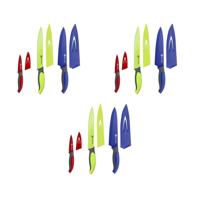 3 Piece Colorful Stainless Steel Knife Set W/ Covers
