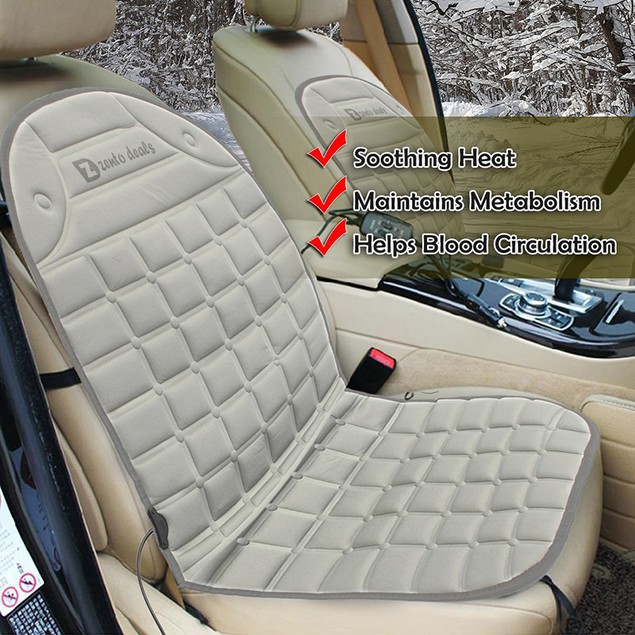2-Pack Zento Deals Gray Heated Seat Cover Cushion for Cars
