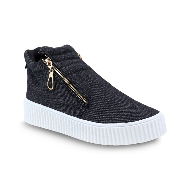 Olivia Miller 'Islip' Side Zip Front Trapunto Denim Sneakers