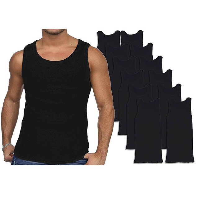 12-Pack Men's Andrew Scott Combed Cotton Black Tank Tops