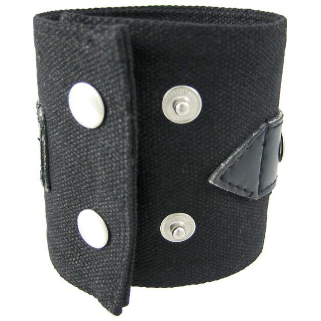 Black Canvas Wristband W/ Vinyl Strap Chrome Mens Cuff Bracelets