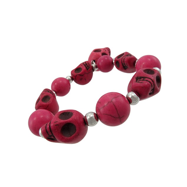 Fuchsia 3D Skull Bead Stretch Bracelet Chrome Womens Stretch Bracelets