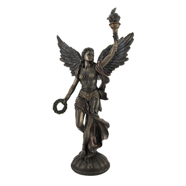Bronzed Nike Goddess Of Victory Raising Torch Statues