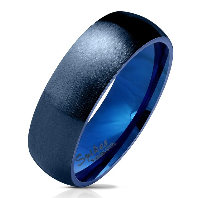 Unisex Stainless Steel Brushed Wedding Band - 5 Colors