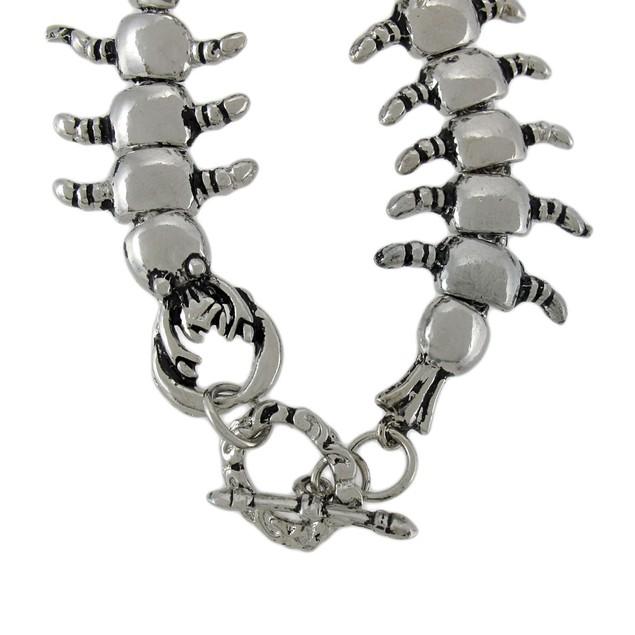 Chrome Plated Centipede Link Toggle Clasp Bracelet Mens Chain Bracelets