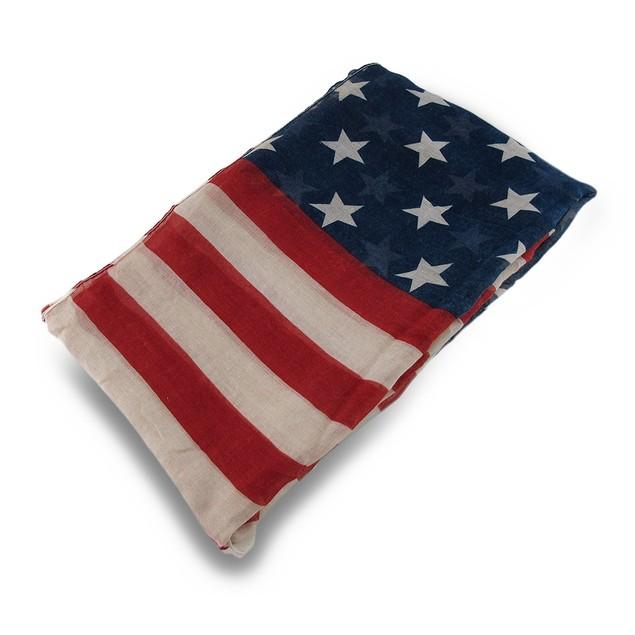 Vintage American Flag Print Lightweight Fashion Womens Fashion Scarves
