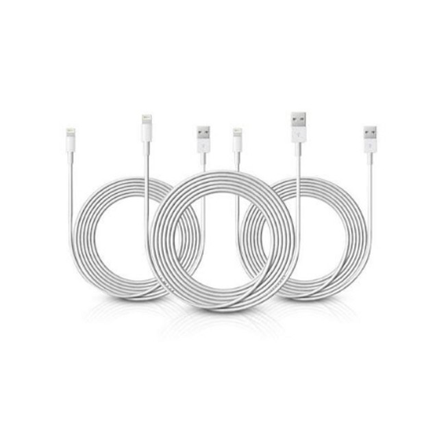 3-Pack MFI Apple Certified 10-Foot Lightning Cables