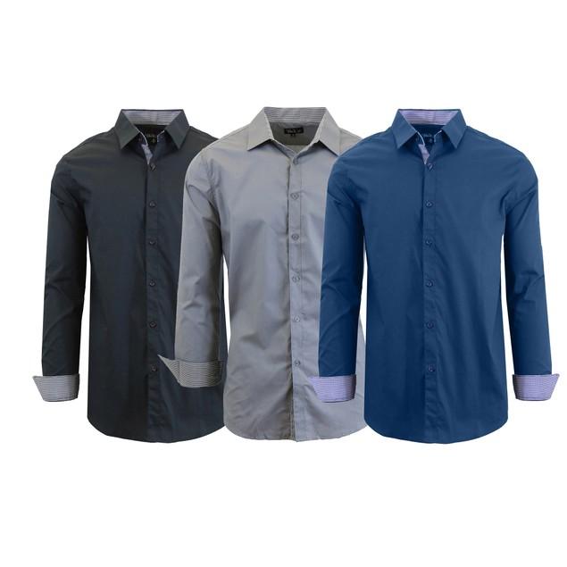 3-Pack Men's Long Sleeve Slim Fit Dress Shirts