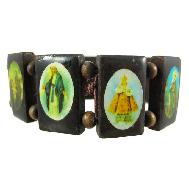 Brown Wooden Bead Religious Scene Stretch Bracelet Womens Stretch Bracelets