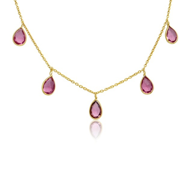 14k Yellow Gold 4ct Raspberry Quartz Multi Drop Necklace