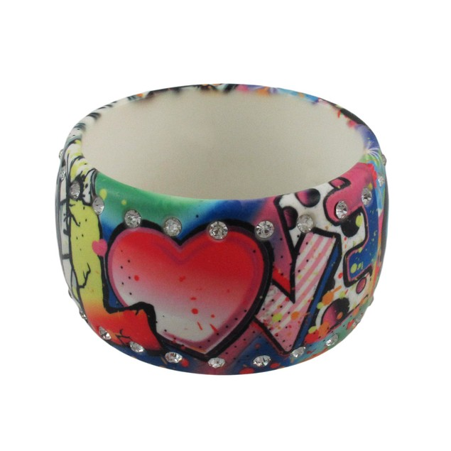 Rhinestone Graffiti Love Hope Faith Wide Bangle Womens Bangle Bracelets