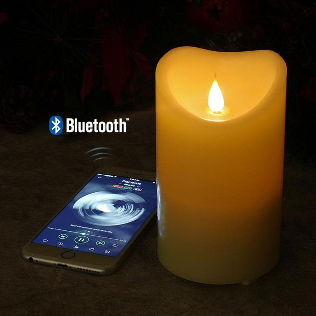 LED Wax Candle with Built-In Bluetooth Speaker