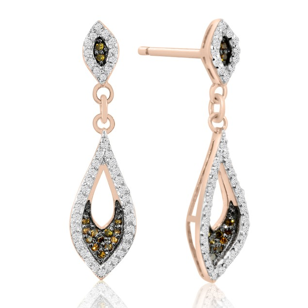 1/3ct Champagne and White Diamond Dangle Earrings In 14 Karat Rose Gold