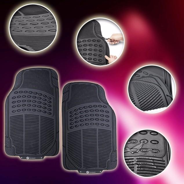 Zone Tech Black Rubber Semi Pattern Car Interior 2 Front Floor Mats