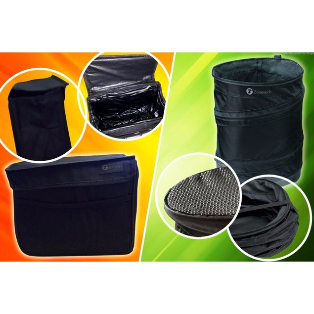 Zone Tech Collapsible Pop-up LeakProof Trash Can and Large Litter Bag