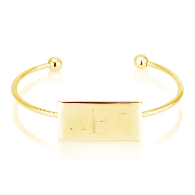 Personalized Monogram Cuff Bracelet - 3 Colors