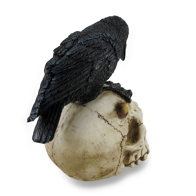 Crow Perched On Horned Skull Sculptural Statue Statues