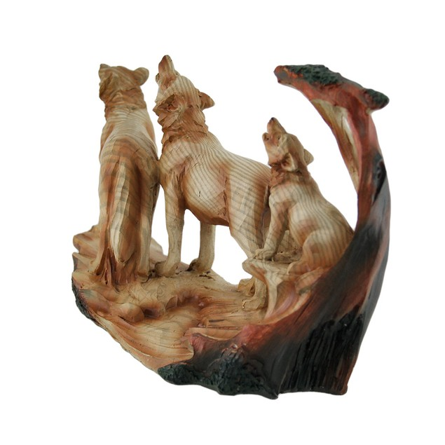 Howling Wolf Family Carved Wood Look Resin Statue Statues