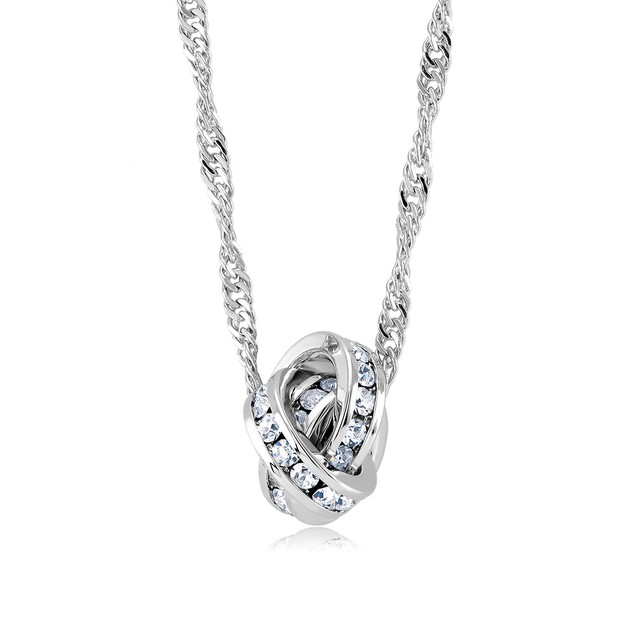White Gold Plated Preciosa Crystal 3-Ring Necklace
