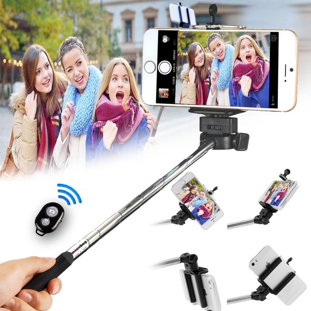 2-Pack: Bluetooth Selfie Stick w/Keychain Remotes