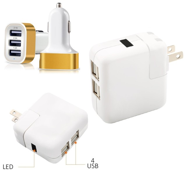 COMBO Universal 4-Port USB Wall Charger & 3-Port USB Car Charger