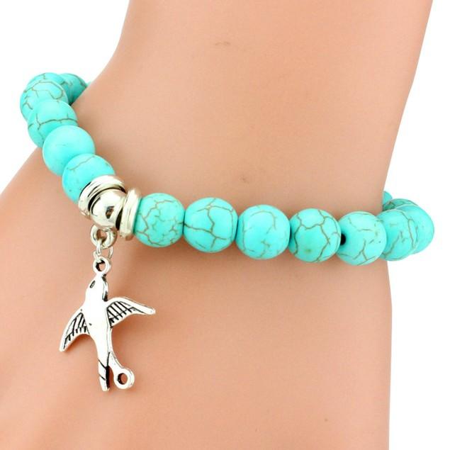 Peace Dove Charm Turquoise Stone Bracelet
