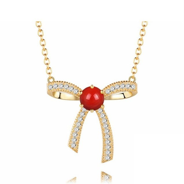 18kt Yellow Gold Plated Cubic Zirconia Bow Necklace