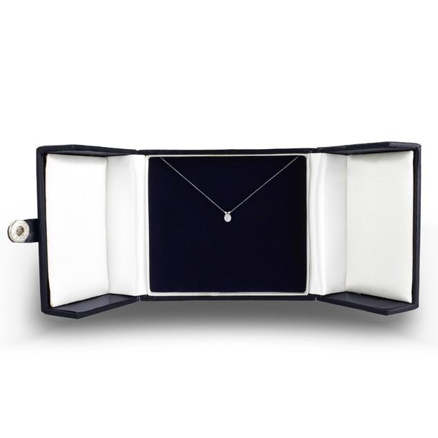 14k White Gold 1/2 Carat Genuine Diamond Solitaire Necklace