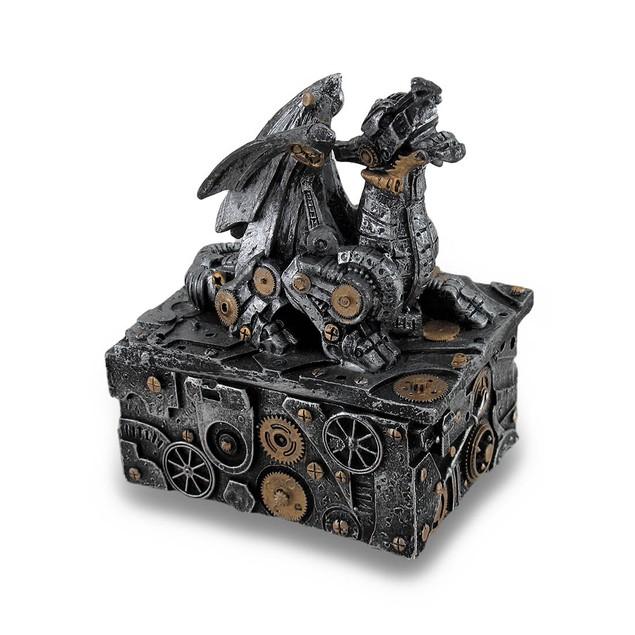 Silver / Gold Enamel Steampunk Dragon Mini Trinket Decorative Boxes