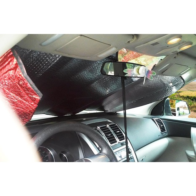 Zone Tech Red Folding Bubble Auto Sunshade Reducing Heat Car Shade