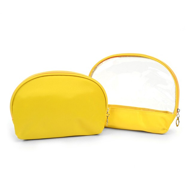 Ladies Clear & Solid Color Make Up Pouch 2pc Set Cosmetic & Toiletry Bags