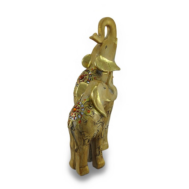 Gold Colored Gilded Trunks-Up Elephant Family Statues