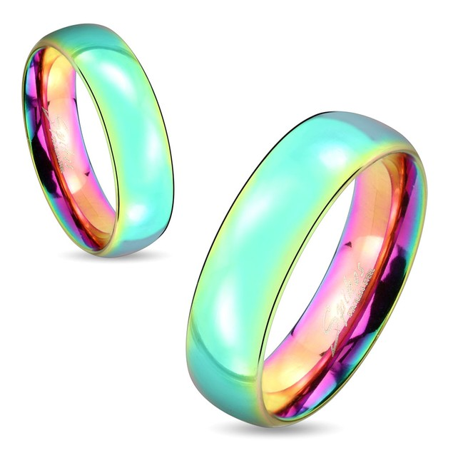 Dome Rainbow IP Stainless Steel Couple Ring