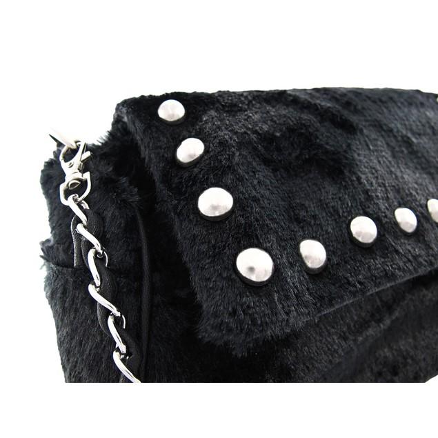 Black Faux Fur Chrome Studded Handbag Purse Womens Shoulder Handbags