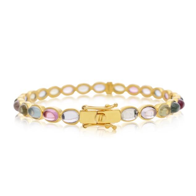 14k Yellow Gold Bezel-Set Gemstone Bracelet - 4 Styles