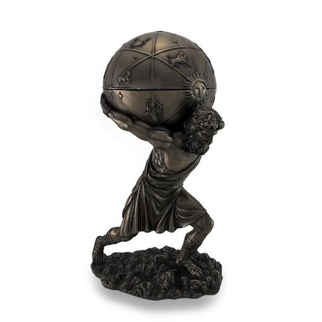 Bronzed Atlas Holding Up Celestial Sphere Decorative Boxes