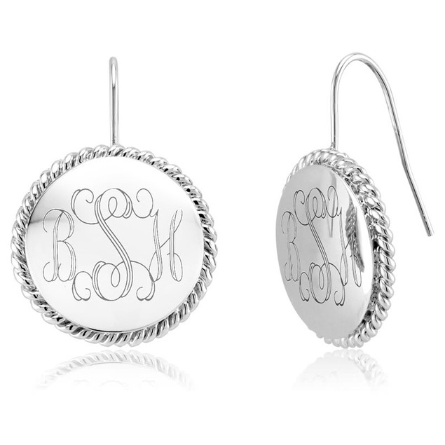 Personalized Monogram Braided Drop Earrings