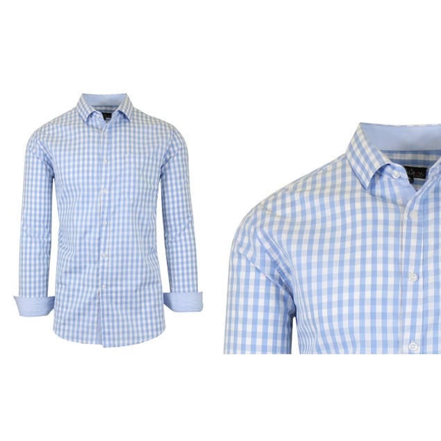 Men's Long Sleeve Slim-Fit Gingham Dress Shirt