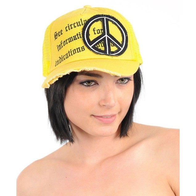 Yellow Peace Fashion Mesh Hat New