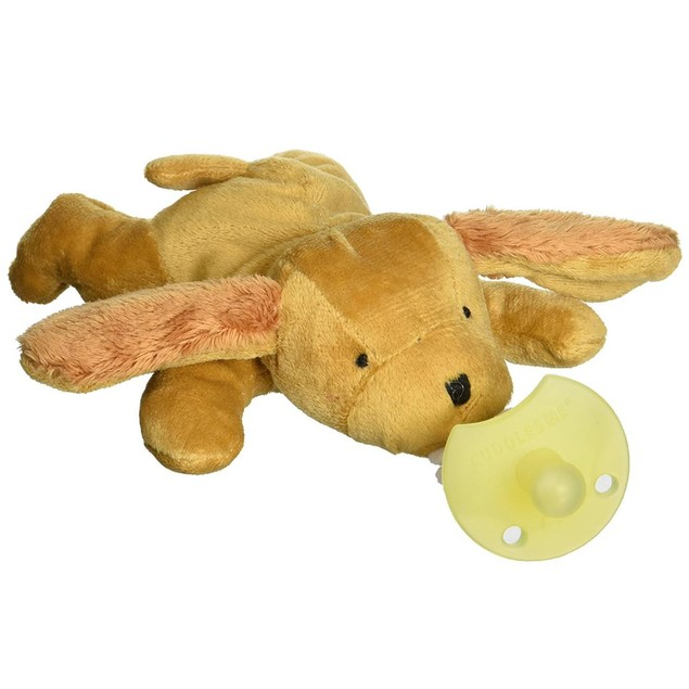 CuddlesMe Plush Dog Toy w/Detachable Pacifier Holder Baby Animal Soft Cute